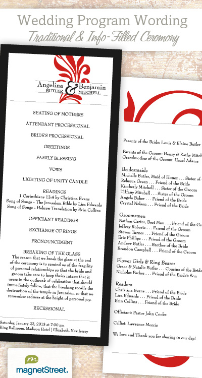 Wedding Program Wording For A Traditional Ceremony