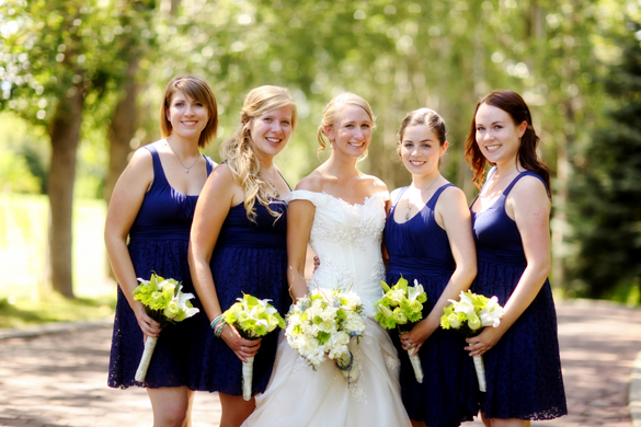 blue bridesmaid dresses from ModCloth--Pepper Nix Photography