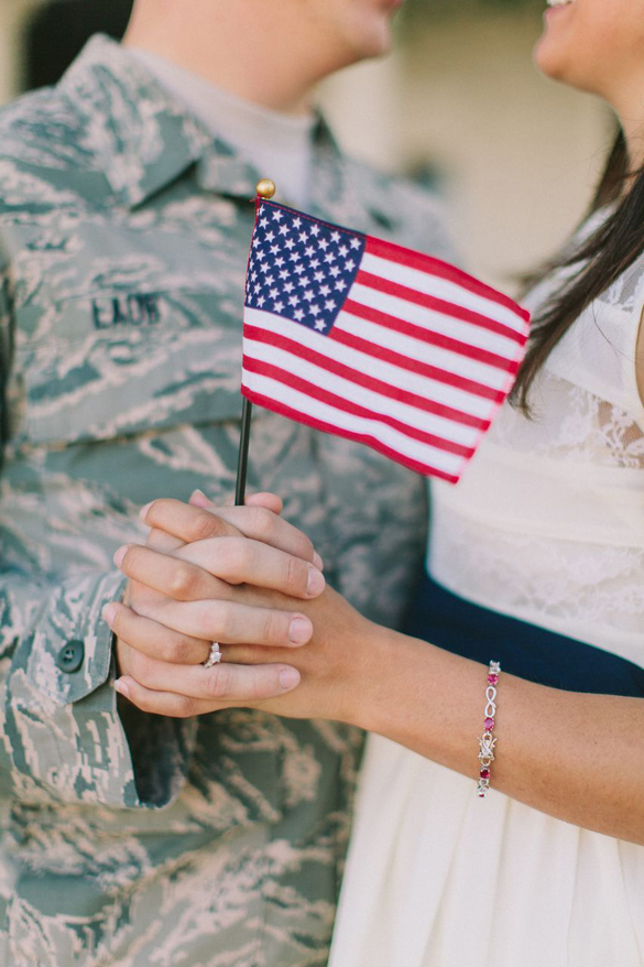 military engagement photo and holding US Flag