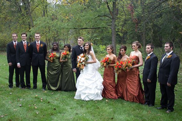 Rustic fall wedding with an olive and pumpkin color scheme!