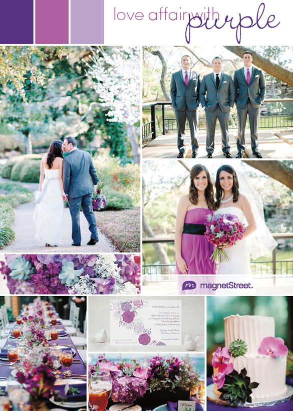 A pretty palette of purples for a summer wedding that celebrates the lush floral trend--from the wedding bouquet to the wedding invitation.