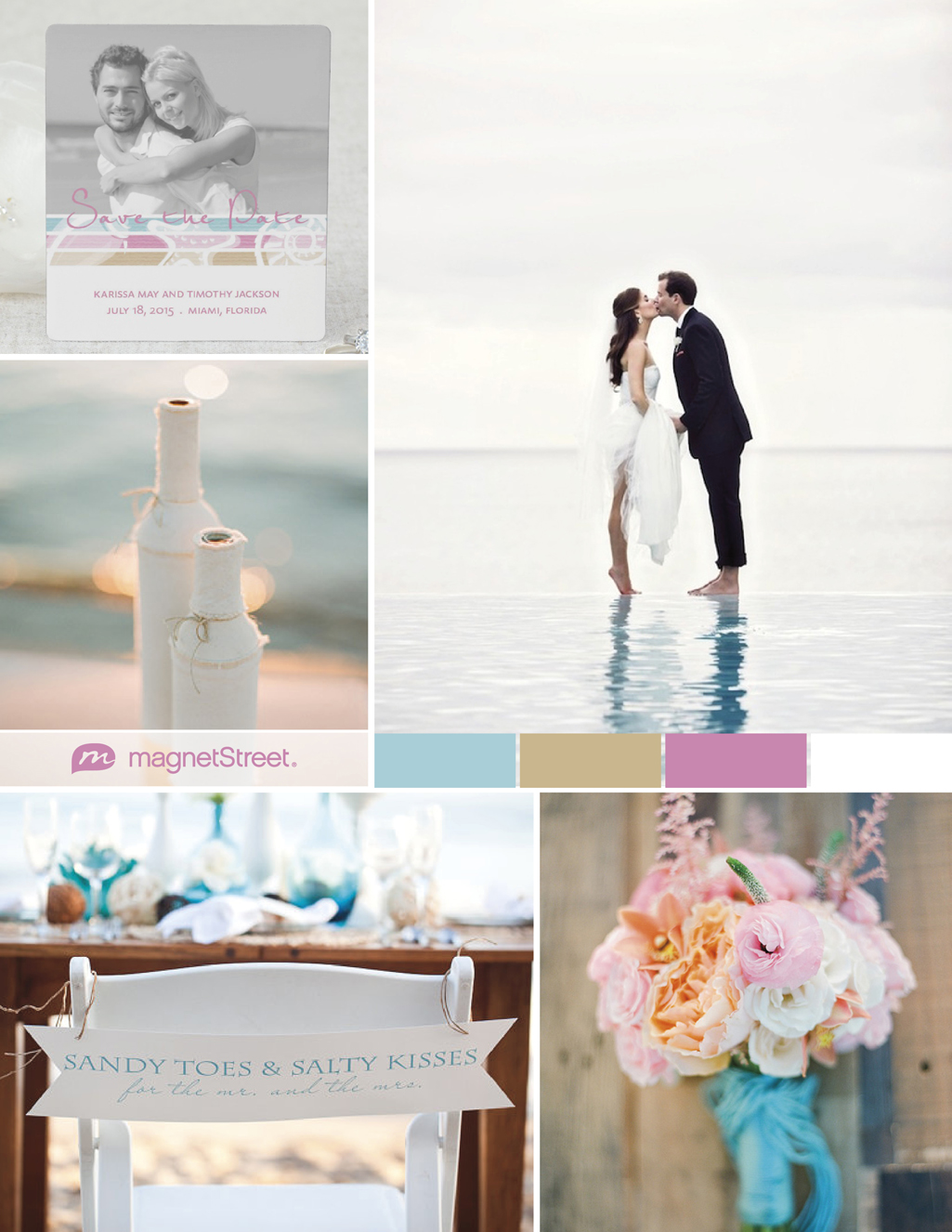 Vibrant beach wedding and photo Save the Date