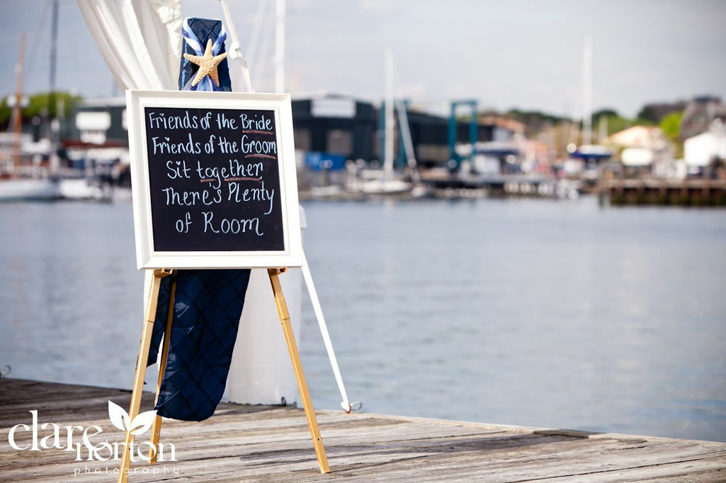 Wedding sign in nautical Rhode Island wedding