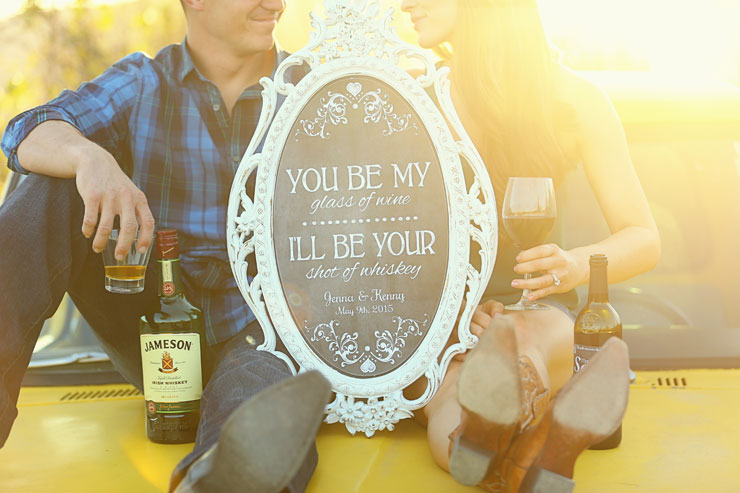 Mountain Engagement Photo Ideas With DIY Wedding Quote