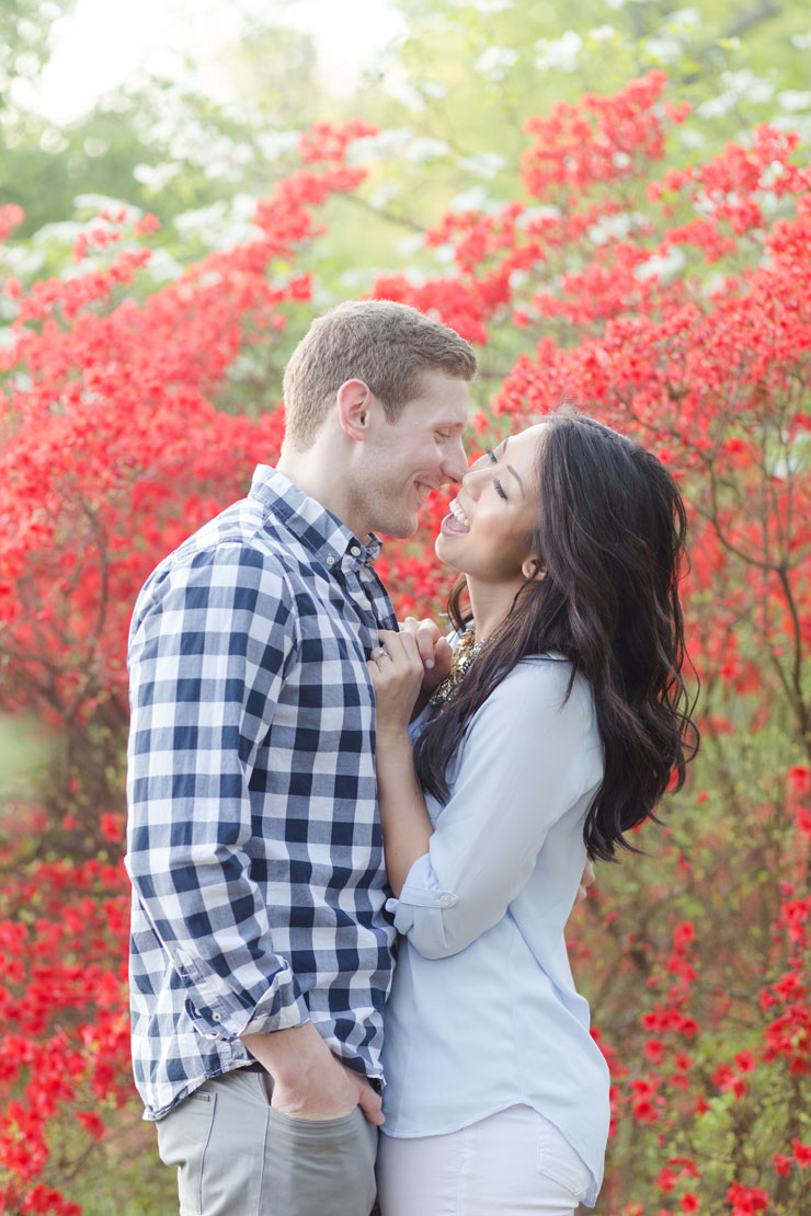 Laughing spring garden engagement