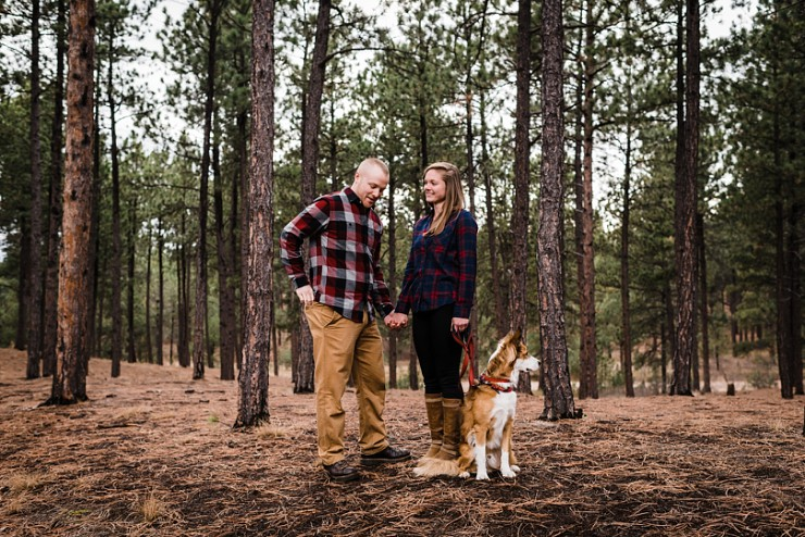 Rustic Surprise Proposal With An Adorable Puppy & Woodsy Scenery